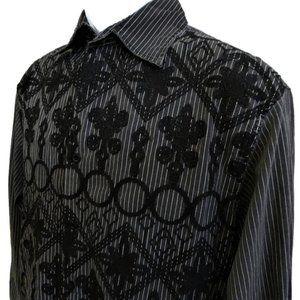Roar Shirt Velvet Embroidery Stripes Button Front